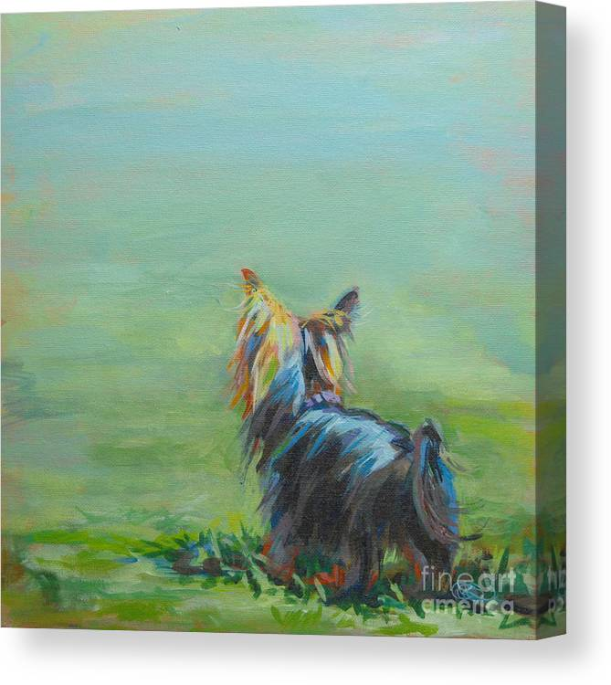Yorkshire Terrier Canvas Print featuring the painting Yorkie in the Grass by Kimberly Santini