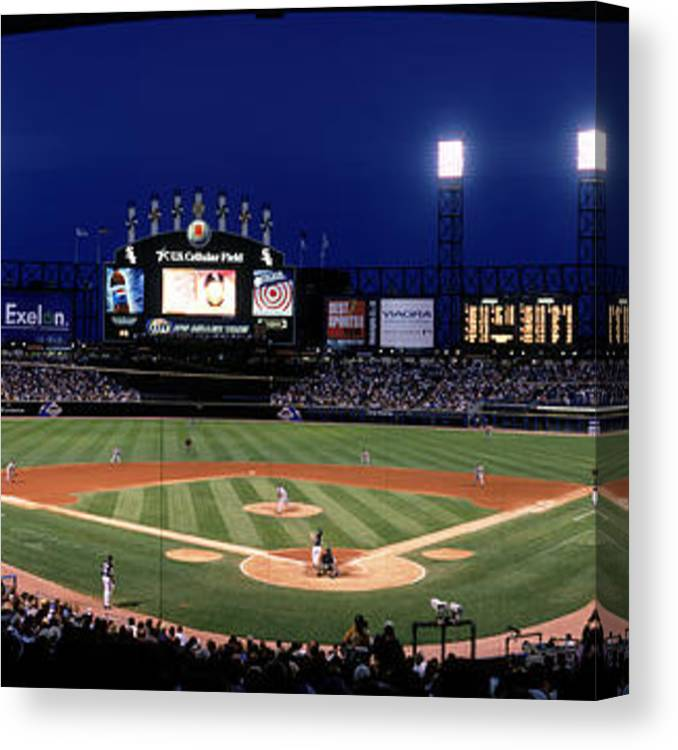 American League Baseball Canvas Print featuring the photograph Indians V White Sox by Jerry Driendl