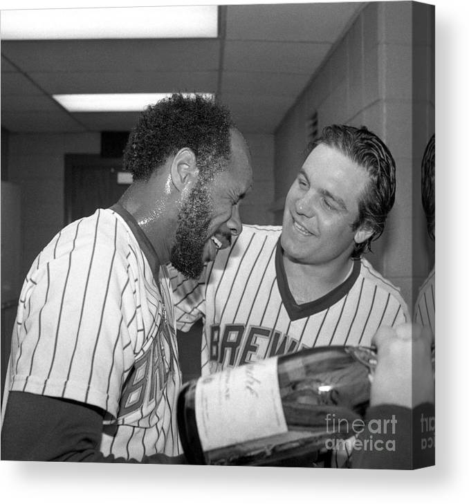 1980-1989 Canvas Print featuring the photograph Milwaukee Brewers Win The American by Bettmann