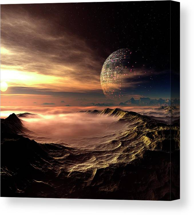 Concepts & Topics Canvas Print featuring the digital art Alien Planet, Artwork by Mehau Kulyk