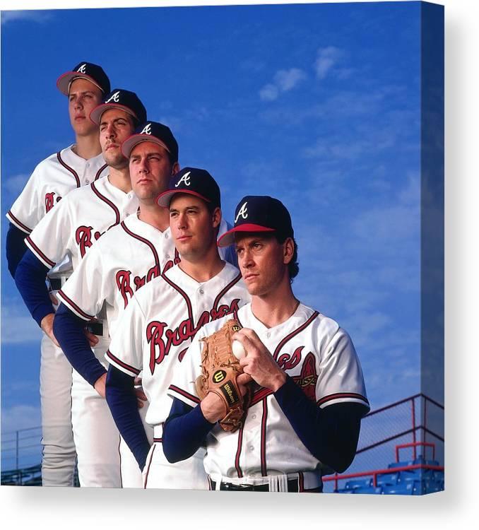 John Smoltz Canvas Print featuring the photograph Atlanta Braves by Ronald C. Modra/sports Imagery