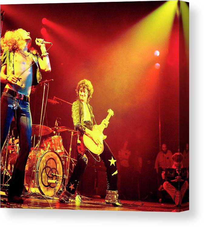 Led Zeppelin Canvas Print featuring the photograph Photo Of Jimmy Page And Led Zeppelin by David Redfern