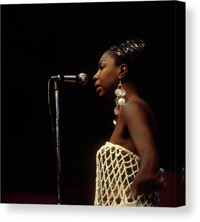 Nina Simone Canvas Print featuring the photograph Photo Of Nina Simone by David Redfern