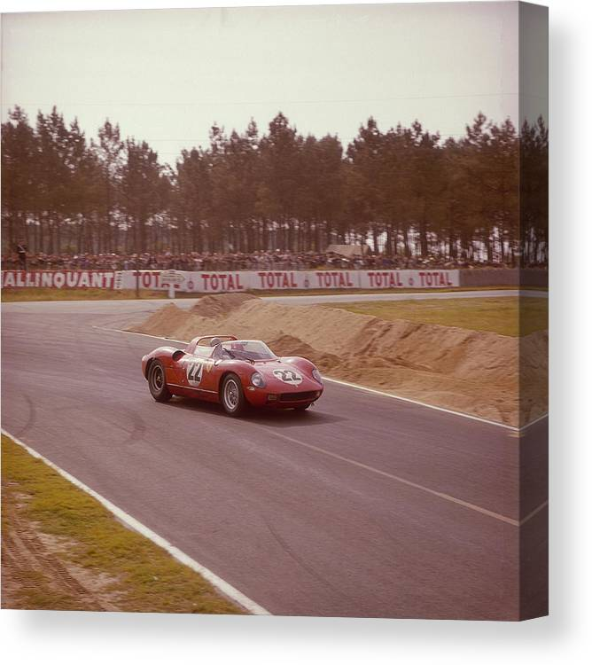 People Canvas Print featuring the photograph A Ferrari 250 P At Le Mans, France by Heritage Images