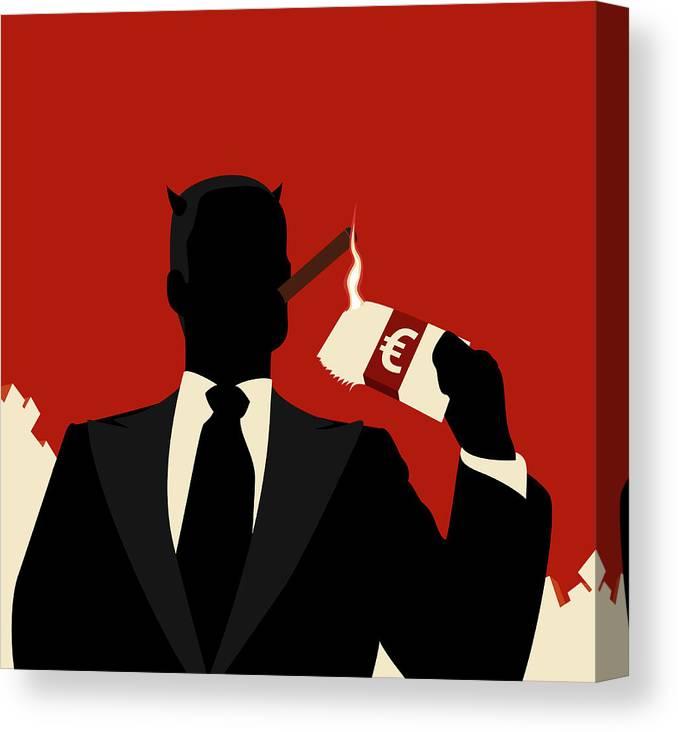 Horned Canvas Print featuring the digital art A Horned Businessman Igniting A Cigar by Ralf Hiemisch