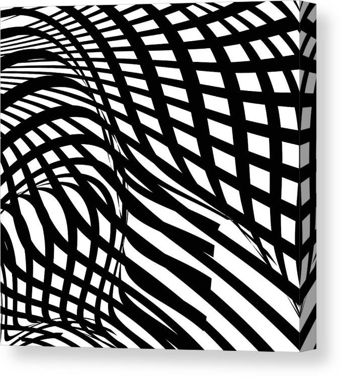 Curve Canvas Print featuring the digital art Abstract Black And White Stripe Shape by Shuoshu
