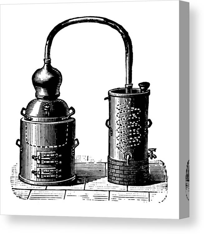 Engraving Canvas Print featuring the digital art Alembic | Antique Design Illustrations by Nicoolay