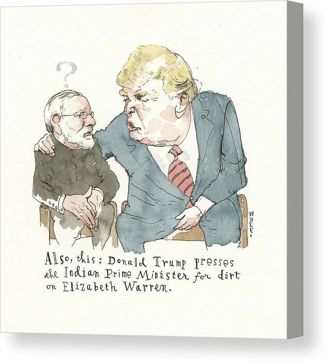 Captionless Canvas Print featuring the painting Another Whistle Blown by Barry Blitt
