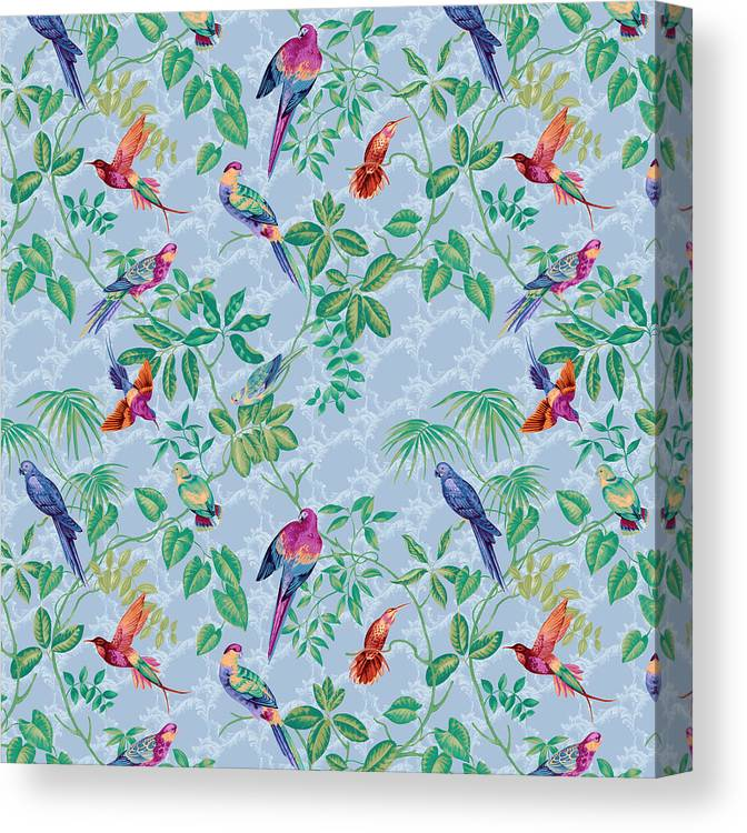 Aviary Small Scroll Periwinkle Canvas Print featuring the digital art Aviary Small Scroll Periwinkle by Bill Jackson