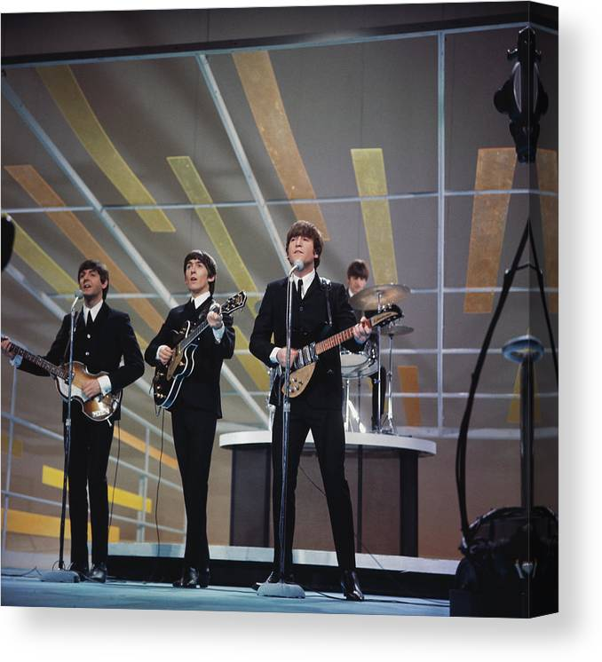 Singer Canvas Print featuring the photograph Beatles On Us Tv by Paul Popper/popperfoto