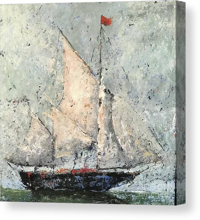 Clipper Canvas Print featuring the painting Blue Clipper On Emerald Sea by Patricia Caldwell