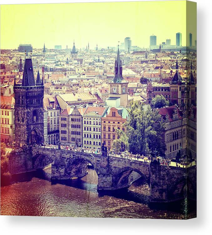 Panoramic Canvas Print featuring the photograph Charles Bridge, Prague by Pawel.gaul