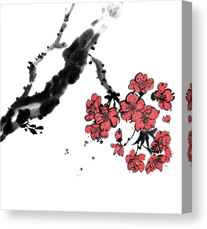 Chinese Culture Canvas Print featuring the digital art Cherry Blossoms by Vii-photo