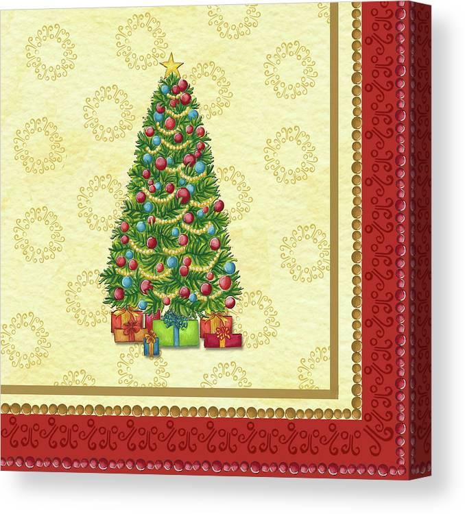 Christmas Tree Balls Canvas Print featuring the painting Christmas Tree Balls by Andrea Strongwater