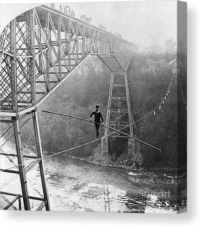 People Canvas Print featuring the photograph Dixon Crossing Niagara On A Tightrope by Bettmann