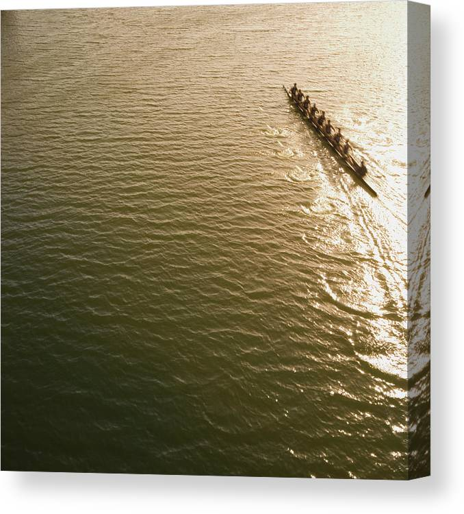 Sport Rowing Canvas Print featuring the photograph Eight Person Rowing Team In Shell With by David Madison