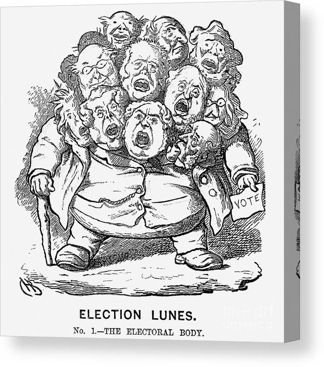 Engraving Canvas Print featuring the drawing Election Lunes, 1865. Artist Charles by Print Collector