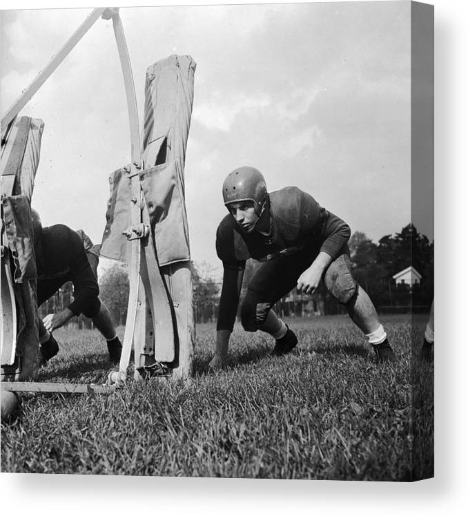 Sports Helmet Canvas Print featuring the photograph Football Training by Barry