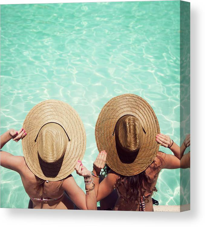 Fedora Canvas Print featuring the photograph Friends By The Pool by Becon