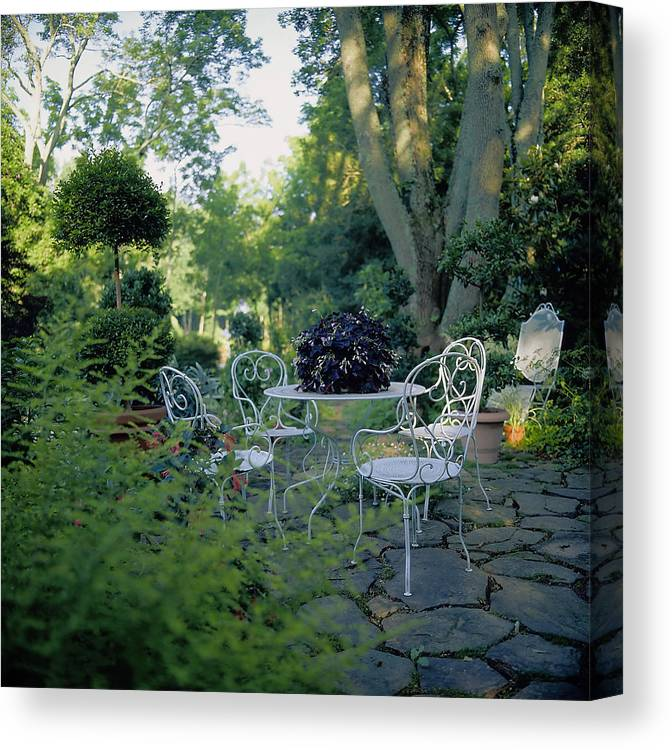 Topiary Canvas Print featuring the photograph Garden Furniture On Patio by Richard Felber