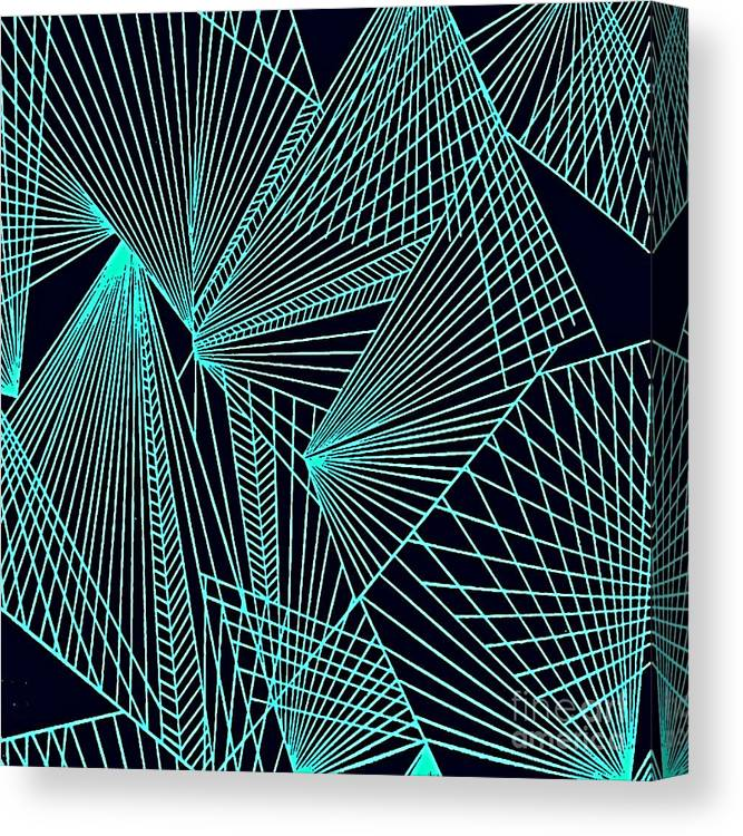 Geometric Patterns Canvas Print featuring the painting Geometric pattern 1-colour-10 by Katerina Stamatelos