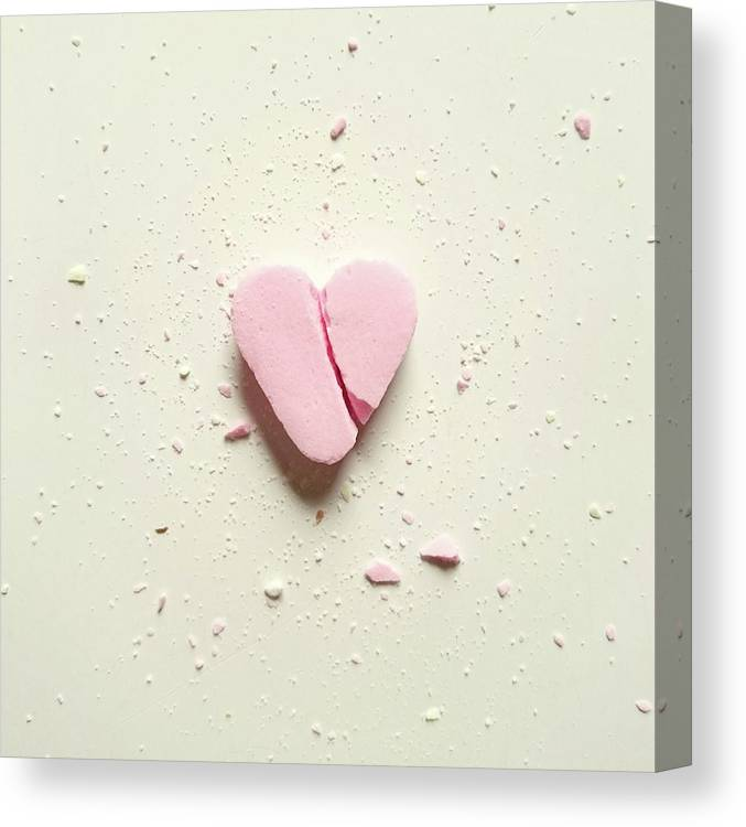 Unhealthy Eating Canvas Print featuring the photograph High Angle View Of Broken Heart Shape by Wulf Voss / Eyeem