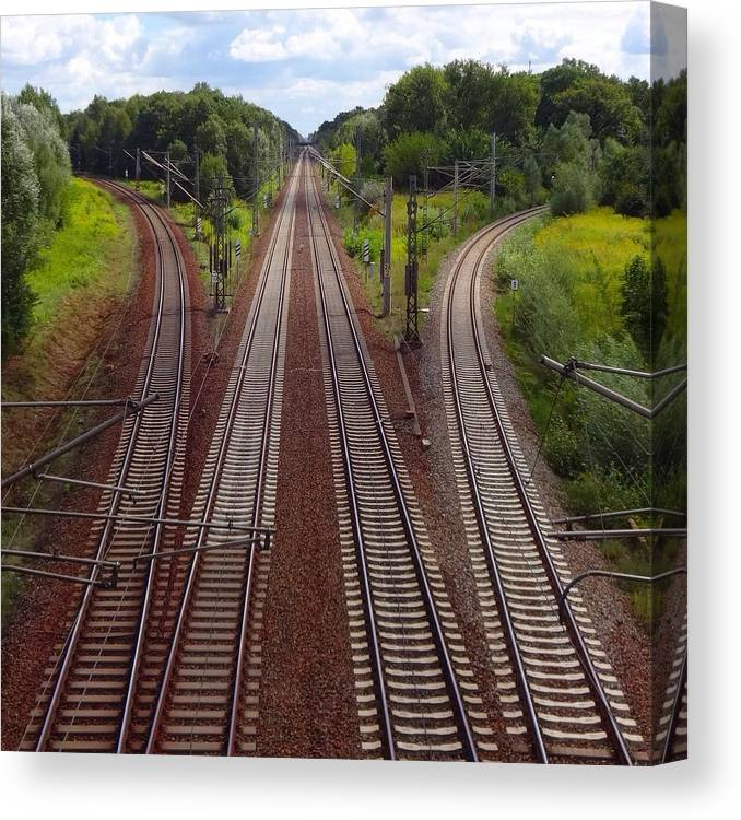 Tranquility Canvas Print featuring the photograph High Angle View Of Empty Railroad Tracks by Thomas Albrecht / Eyeem