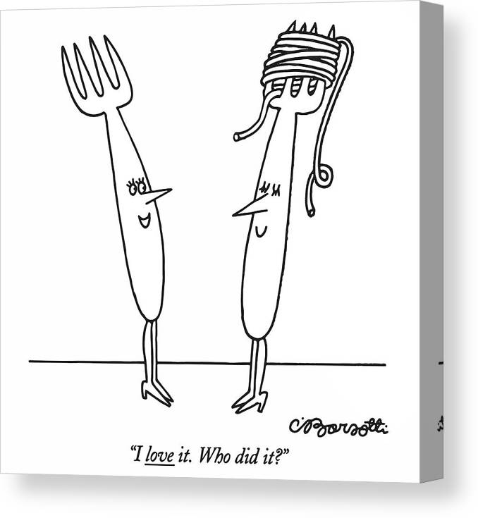 Women Canvas Print featuring the drawing I Love It. Who Did It? by Charles Barsotti