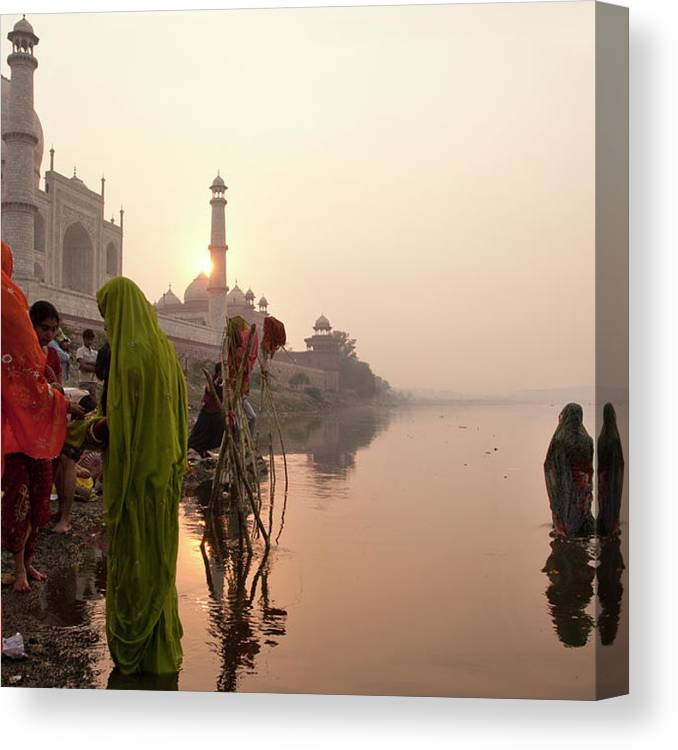People Canvas Print featuring the photograph Indian Woman,traditional Dress In Front by Partha Pal