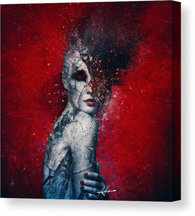 Red Canvas Print featuring the digital art Indifference by Mario Sanchez Nevado