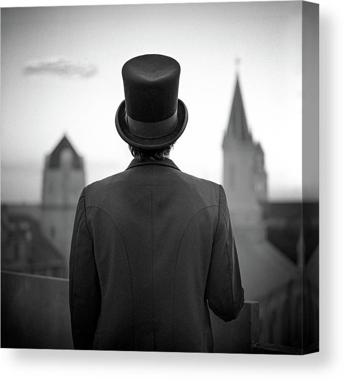 People Canvas Print featuring the photograph Man Standing Front Of Cathedral by Eddie O'bryan