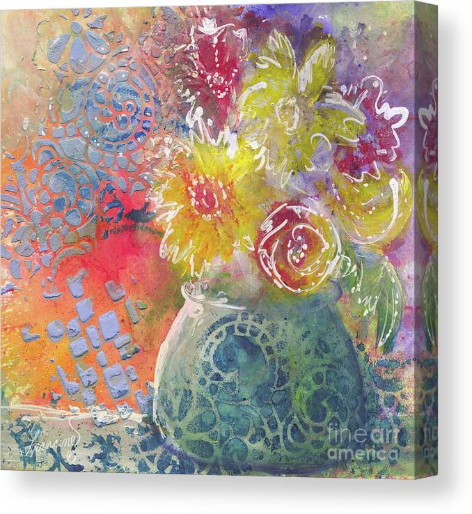 Mixed Media Canvas Print featuring the mixed media Marabu Flowers 1 by Francine Dufour Jones
