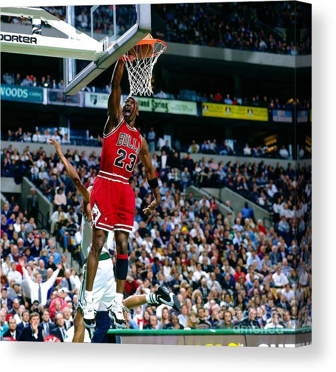 Chicago Bulls Canvas Print featuring the photograph Michael Jordan Dunks The Ball by Nathaniel S. Butler
