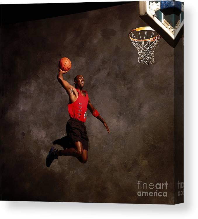 Chicago Bulls Canvas Print featuring the photograph Michael Jordan Mock Action Portrait by Nba Photos