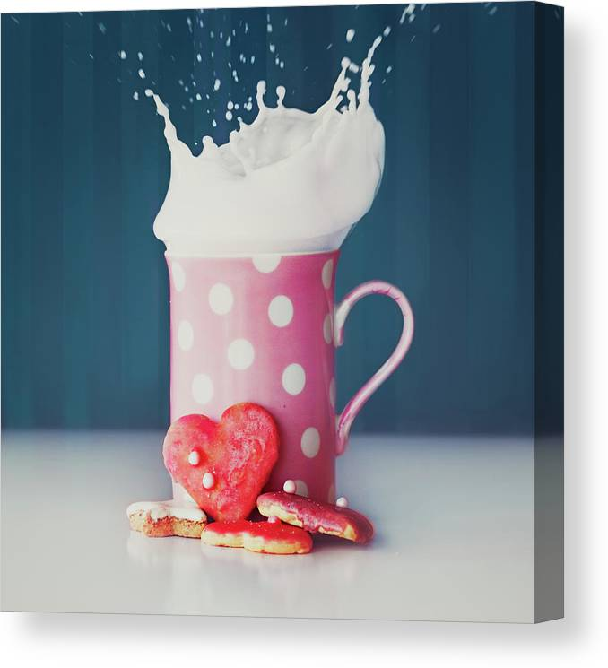 Milk Canvas Print featuring the photograph Milk And Heart Shape Cookies by Julia Davila-lampe