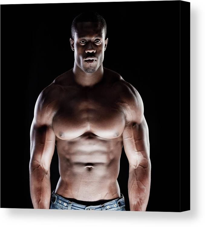 Young Men Canvas Print featuring the photograph Muscular Man by Pkline