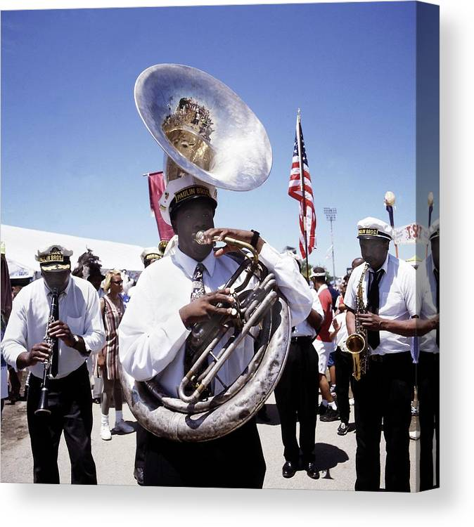 Music Canvas Print featuring the photograph New Orleans Marching Band by David Redfern