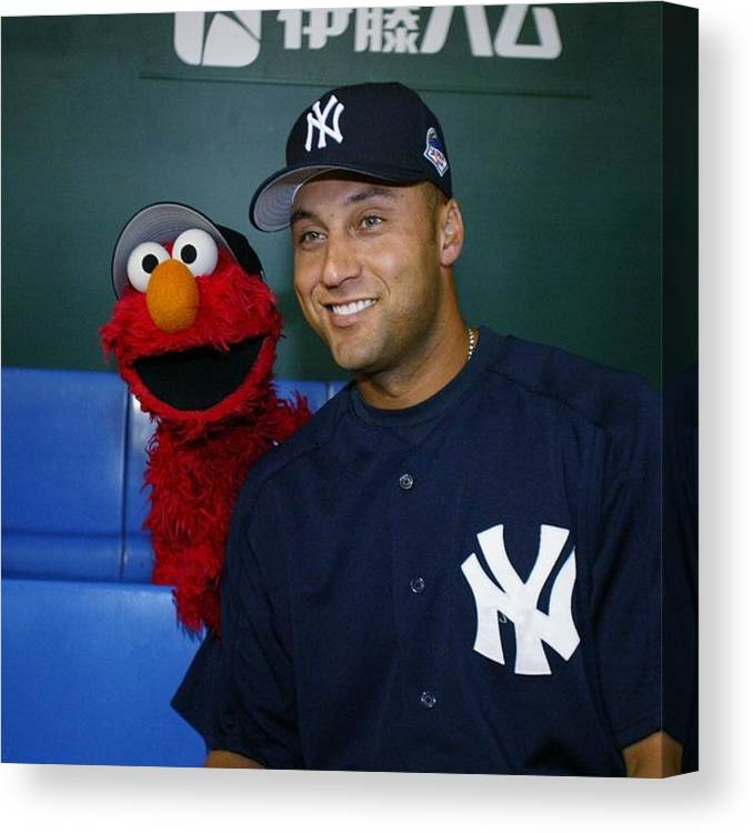 People Canvas Print featuring the photograph New York Yankees Derek Jeter Relaxes In by New York Daily News Archive