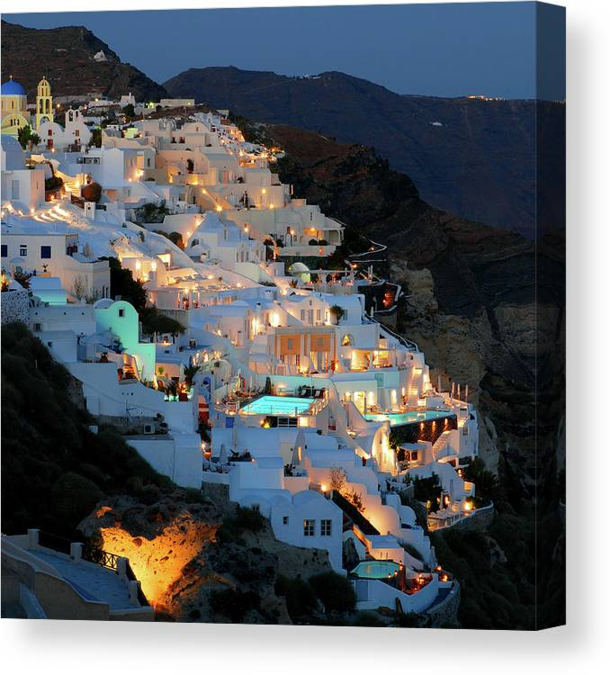 Tranquility Canvas Print featuring the photograph Oia, Santorini Greece At Night by Marcel Germain