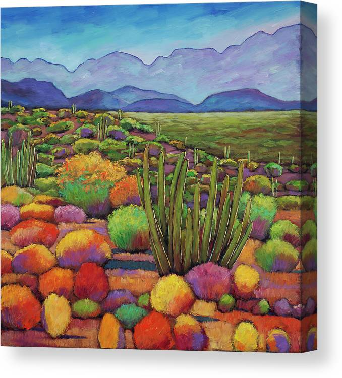 Desert Landscape Canvas Print featuring the painting Organ Pipe by Johnathan Harris
