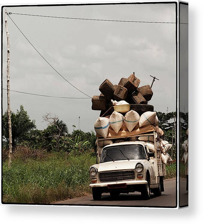 Transfer Print Canvas Print featuring the photograph Overloaded Car by Rodriguez Art Work