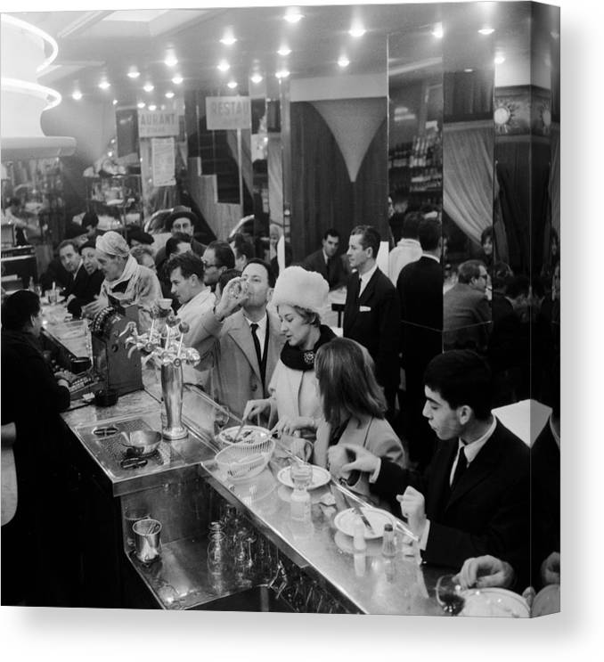 1950-1959 Canvas Print featuring the photograph Paris Cafe by Three Lions