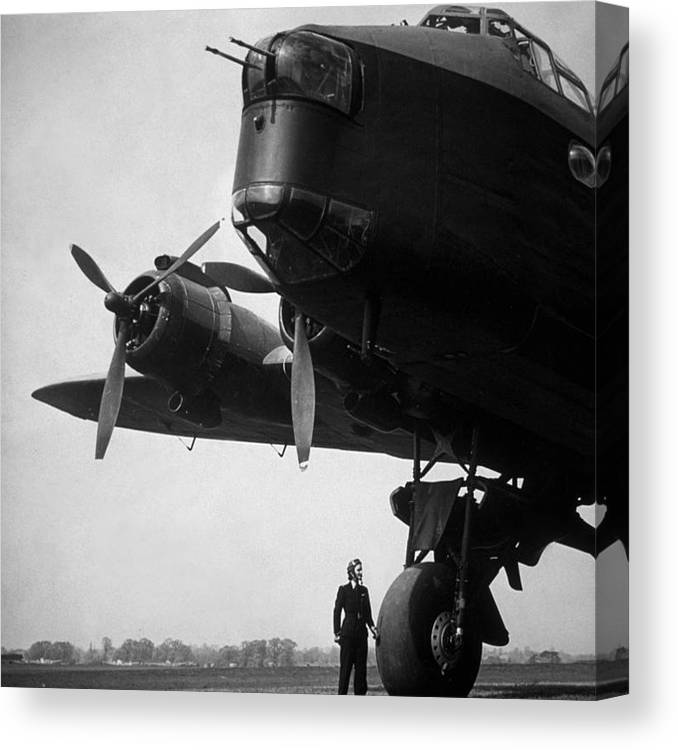 Women's Forces Canvas Print featuring the photograph Pilot And Plane by Fox Photos