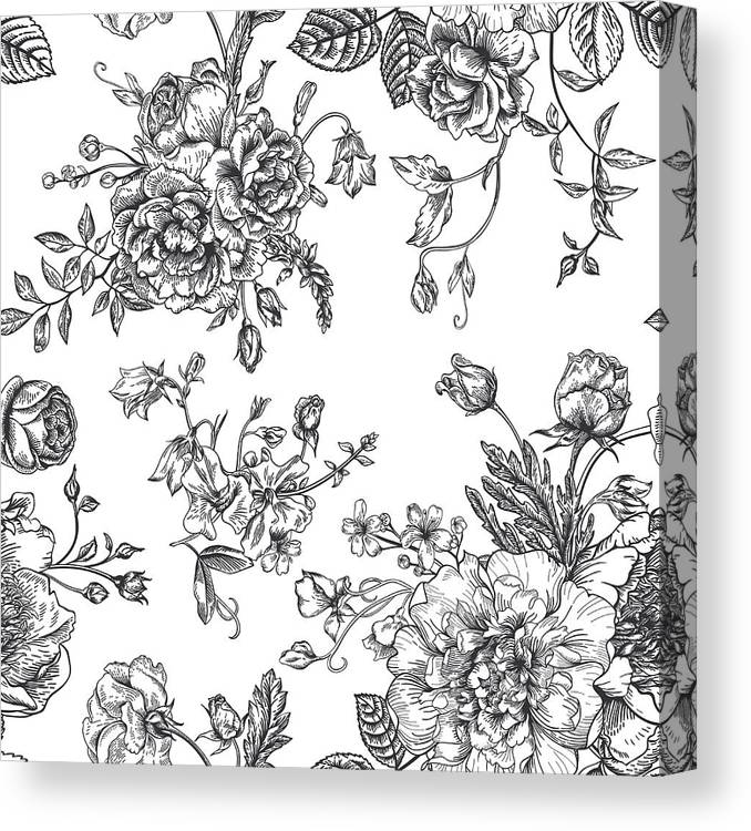 Art Canvas Print featuring the digital art Seamless Pattern With Bouquet Of by Nata slavetskaya