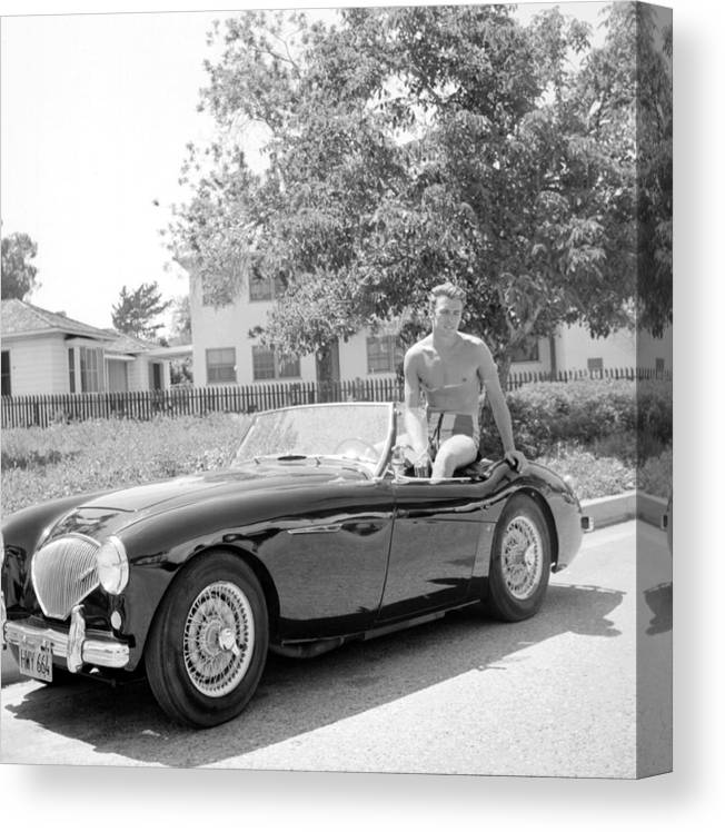 People Canvas Print featuring the photograph Sportscar by Michael Ochs Archives