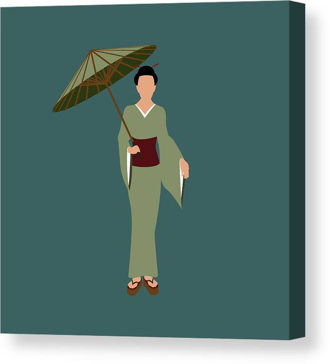 People Canvas Print featuring the digital art Stereotypical Japanese Woman by Ralf Hiemisch