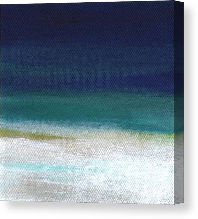 Abstract Canvas Print featuring the painting Surf and Sky- abstract beach painting by Linda Woods