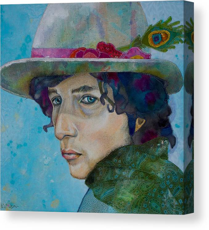 Bob Dylan Canvas Print featuring the mixed media Tangled Up by Karen Payton