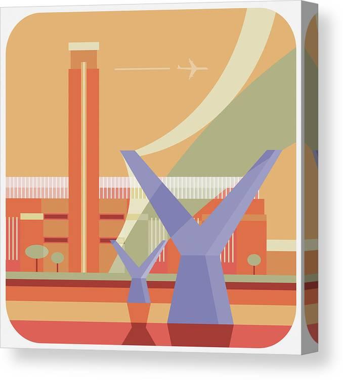 London Millennium Footbridge Canvas Print featuring the digital art Tate Gallery And Millennium Bridge by Nigel Sandor