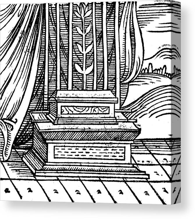 Concepts & Topics Canvas Print featuring the drawing The Ark Of The Covenant, 1557 by Print Collector